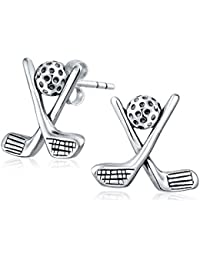 925 Sterling Silver Sports Golf Club and Ball Stud Earrings