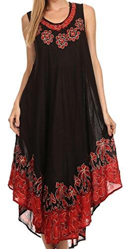 Sakkas 40SE Sundari Kaftan-Behälter-Kleid/Cover Up - Schwarz/Rot - One Size - Schwarze Krepp-kleid