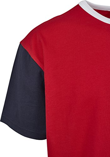 Urban Classics Herren T-Shirt Oversize Harlequin Tee Mehrfarbig (Fire Red/White/Navy 01236)