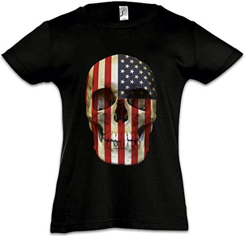 f3ebe12d5ff9 Urban Backwoods USA Stars   Stripes Skull Flag Camiseta para Niñas Chicas  niños T-Shirt