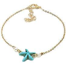 Hosaire Perla sencillo estrellas de mar de color turquesa la pulsera de tobillo / mujer brillante cadena Tobillera pulsera descalzo sandalia playa Joyería del pie