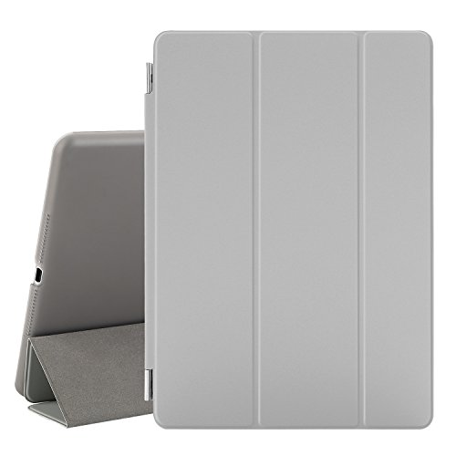 Besdata® iPad Air 2 Hülle - Ultra Dünn Edles Smart Cover Leder Case Schutz Hülle Tasche + Back Case für ipad air 2 ipad 6 - inkl. Displayschutzfolie Reinigungstuch Stift mit Multi Ständer Auto Sleep Wake (Grau, iPad Air 2)