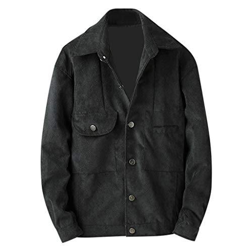ODRD Oversize Tshirts Herren Langarmshirt Männer Dünner Mantel Longshirt Jacke Warme Coat Turn-down Collar for Frühling, Herbst, Winter [M-XXXL]