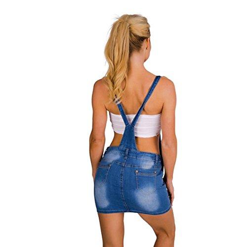 10419 Fashion4Young Damen Jeansskirt Jeansrock Minirock Trägern Latzrock Rock Jeans Blau Blau