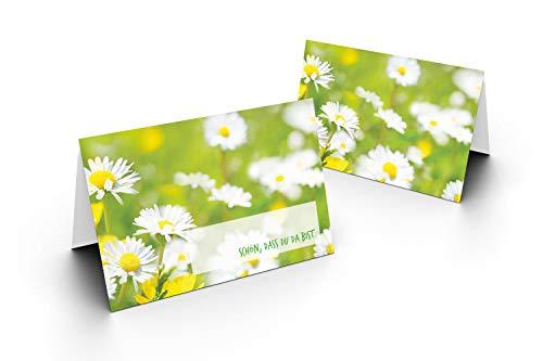 Karten24Plus 50 Tischkarten (Gänseblümchen) UV-Lack glänzend - für Hochzeit, Geburtstag, Jubiläum. als Tischdekoration!Format 8,5 x 11,2 cm