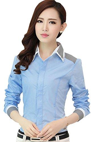 Blansdi Femme Chemise Elégant Commercial Moulante Blouse Col en Strass Manches Longues Avec faux diamant Bleu