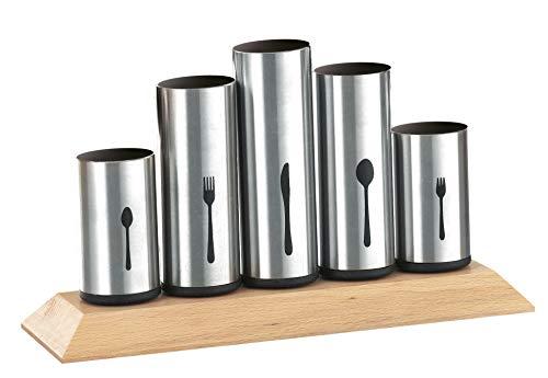 Esmeyer 610-217 Porte-couverts avec 5 pots fixes inox 12 couteaux, 12 fourchettes, 12 cuillères, 12 cuillères à café et 12 fourchettes à dessert