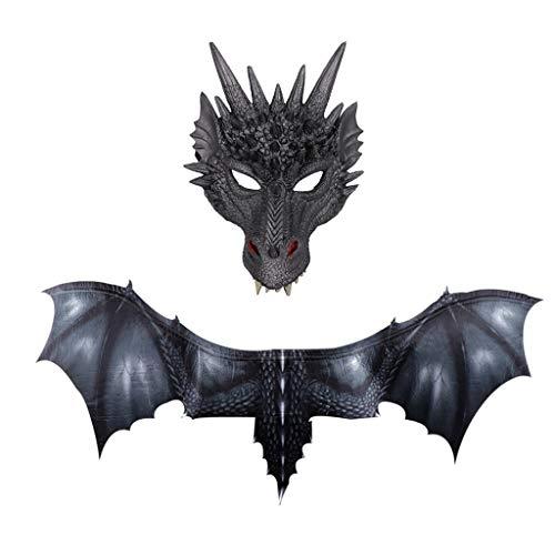 Selbstgemacht Indianer Kostüm - YWLINK Halloween Dragon Maske Und FlüGel Sets, Horror Dinosaurier Cosplay Prop für Damen & Herren(Schwarz,30x21cm,95x45cm)