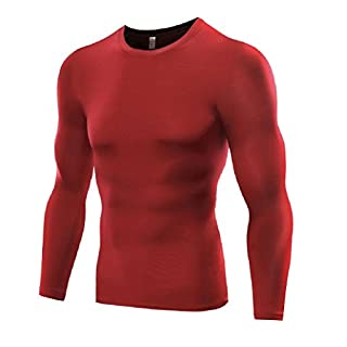 Men's Sports Base Layer Long Sleeved Compression Vest Comfortable Tight Fit Body Shaper That Compresses Core Muscle Areas Aids Performance. Official Pure Blue Product (Red, Small)