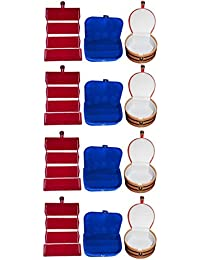 Afrose Combo 4 Pc Red Earring Folder 4 Blue Ear Ring Box And 4 Pc Bangle Box Jewelry Vanity Case