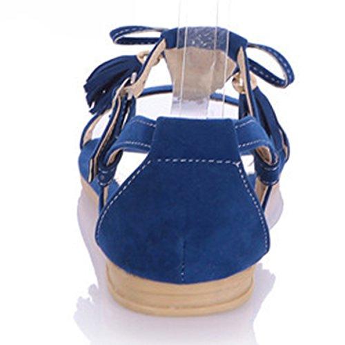 Oasap Women's Open Toe Buckle Strap Flat Heels Sandals with Tassel Black