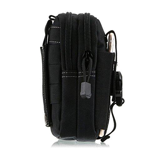 Borse tattiche, borse tattiche P.KU.VDSL, pacchetti tattici multifunzione all'esterno, porta accessori, borsa tattica Molle EDC Utility borsa in cintura gadget con supporto per custodia per cellulare  Nero