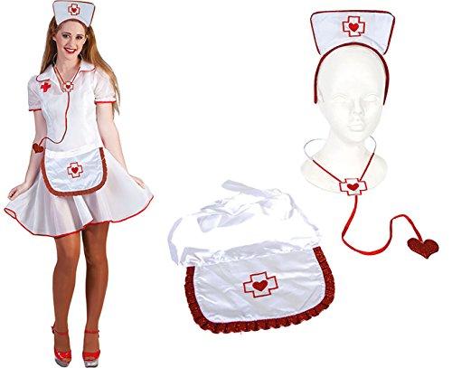 Karnevalsbud - Kostüm Krankenschwester Set - Schürze Stethoskop Haarreif Tiara, Weiß