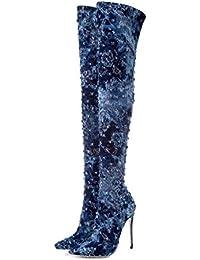 c36d997acd12 Denim Fashion Sur Les Bottes Au Genou Pointu Slim À Talons Hauts Bottes  Pour Femmes
