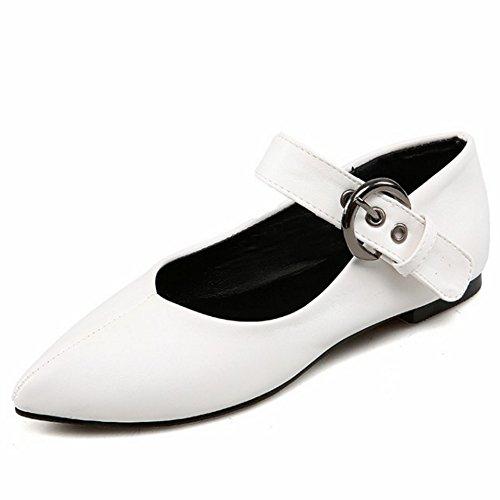 TAOFFEN Damen Mode Flache Schuhe Pointed Toe Pumps Mit Schnalle P Weiß