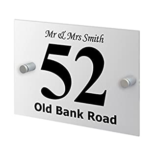 Premium Home Plaques Modern Style House Door Number Plaque Including Street Name and Your Name Fully Personalised With Standoffs Rust Free Outdoor High Visibility Market Leading Print