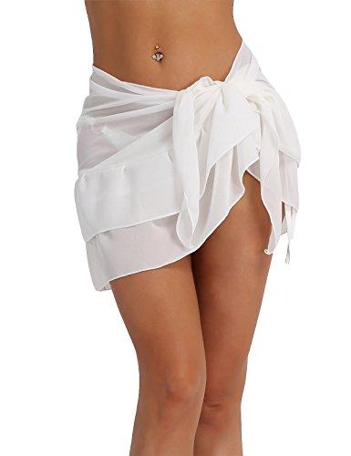 YiZYiF 2018 neue Damen Sexy modern Einfarbig Strandrock Strandkleider bikinihosen Cover Up Weiß One Size (Set Wrap Skirt)