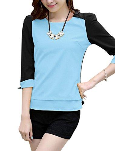 Damen Patchwork Reißverschluss Rücken 3/4 Kontrast Ärmel Chiffon Bluse Hellblau