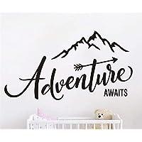 JURUOXIN Adventure Begins Wall Stikcer Art Travel Decals Mountain Decoartion for Kids Boy Girl Child Bedroom Playroom Decor YMX46 (Black, 57x31CM)