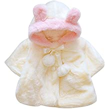 LANSKIRT Infantil del bebé Niñas Invierno de Pieles Abrigo cálido Chaqueta de Capa Oreja de Dibujos