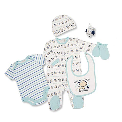 Baby Kleidung Geschenkset - Baumwolle Babyausstattung für Neugeborene Jungen oder Mädchen - Schlafstrampler, Strampler, Lätzchen, Mütze, Kratzhandschuhe und Stofftier - 0-3 Monate -