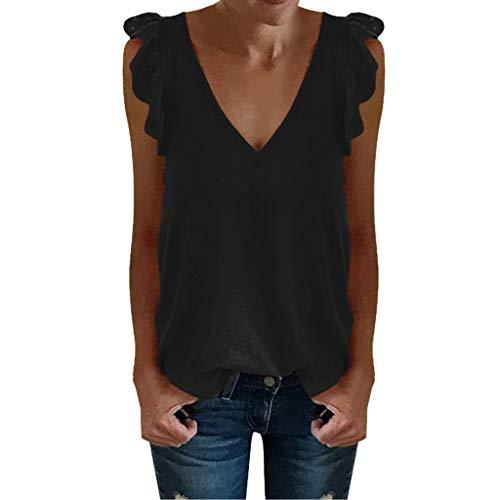 CANDLLY Damen T-Shirt, Frauen Lässiges Einfarbig Top Weste Tops Damen Bluse Ärmellose Tanktops mit V-Ausschnitt Mode Solide Polyester Tunika Oberteile Hemd Damen (Machen Lego Kostüm Händen)