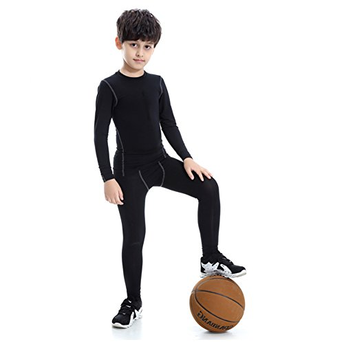 YIFEIKU Co.,Ltd. Boys Athletic Long Sleeve Basketball Compression Sport Gym Active Wear