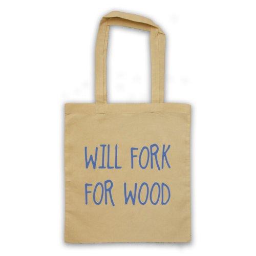 Will Forchetta per legno, scritta con Slogan divertente Borsa natur