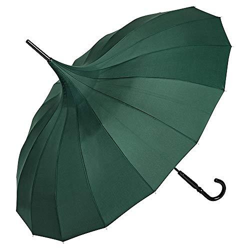 VON LILIENFELD Regenschirm Damen Sonnenschirm Pagode Charlotte grün