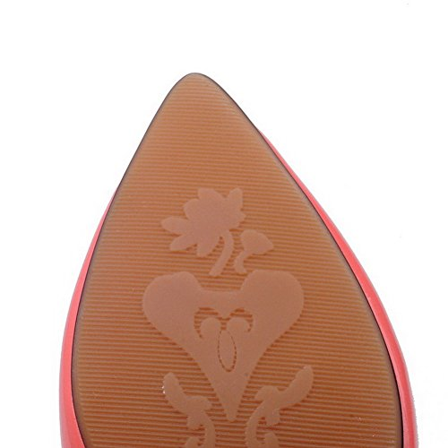 VogueZone009 Damen Lackleder Mittler Absatz Spitz Zehe Ziehen Auf Pumps Schuhe Wassermelone Farbe