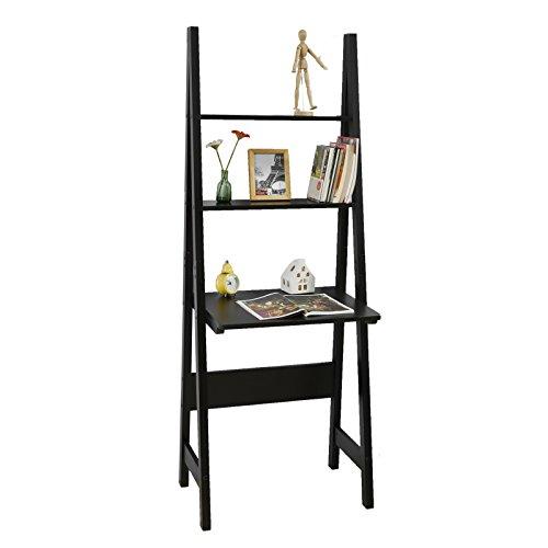 SoBuy® FRG60-Sch Table étagère Style échelle de 2 tablettes et 1 Plan de Travail -Noir