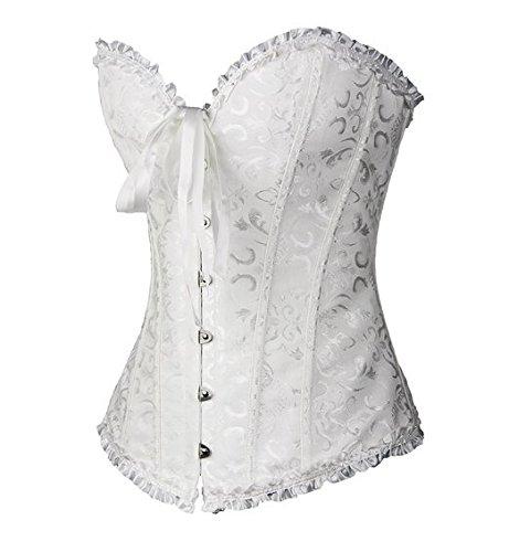 PhilaeEC Frauen Bridal Wäsche schnürt sich oben Satin ohne Knochen Korsett mit G-Schnur (Weiß, 4XL) - 3