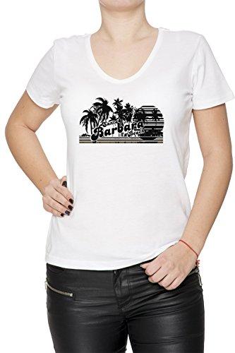 Santa Barbara Beach Donna V-Collo T-shirt Bianco Cotone Maniche Corte White Women's V-neck T-shirt