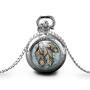 Halskette Taschenuhr cabochon - Uhr -