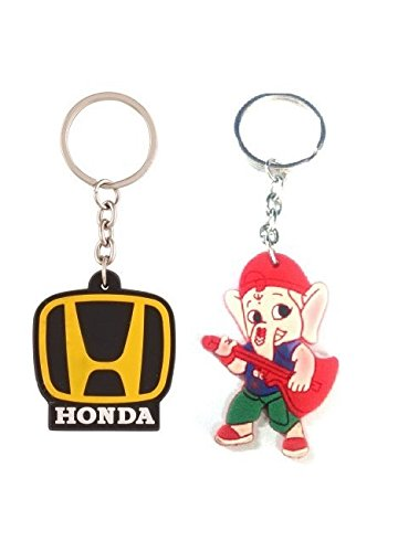 Parrk Rubber Honda Car Logo With Bal Ganesh Key Chain  available at amazon for Rs.175