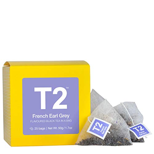 T2 Tea - French Earl Grey Black Tea, 25 Tea Bags in a Box, 50g