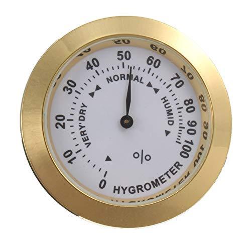 Mimagogo Messing Analog Hygrometer Zigarrentabak Luftfeuchtigkeitsmesser und Glasobjektiv für Humidore