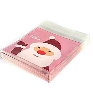 Scrox 100 Unids Lindo Caramelo Bolsa Patrón Bolsa Sachet Santa Galletas Dulce Chocolate Caramelo Regalo Bolsa Aniversario de Bodas Fiesta de Navidad Patrón Aleatorio