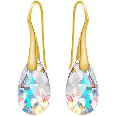 24ct amarillo chapado en oro plata de ley 925azul Aurora boreal con cristales de Swarovski Drop gancho pendientes