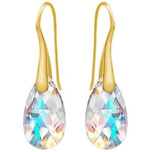 Orecchini pendenti blu Aurora Borealis in argento sterling 925placcato oro giallo 24K, con cristalli Swarovski