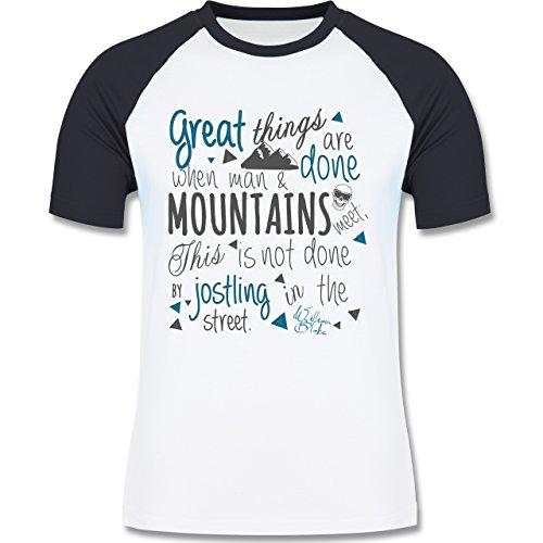 Après Ski - Great things happen Mountain - zweifarbiges Baseballshirt für Männer Weiß/Navy Blau
