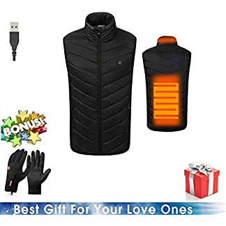 Freefa Electric Heated Vest USB Lightweight Size Right 5 Heating Zones Water Wind Resistant with Touchscreen Glove 5
