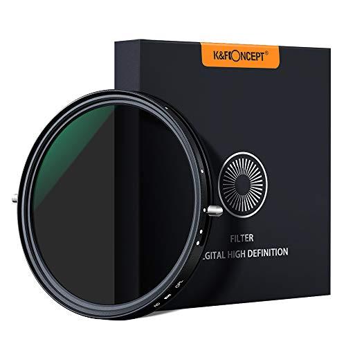 K&F Concept - 2 en 1 Filtro Polarizador y Filtro Densidad Neutra Ajustable 67mm Slim ND2-ND32 MRC para Cámara Lente NO X Spot con Funda
