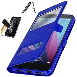 KONTARBOOR Etui Housse Coque Bleu Compatible avec Samsung Galaxy J6 Plus + Film Verre trempé + Stylet ***Plusieurs Couleurs Disponibles***