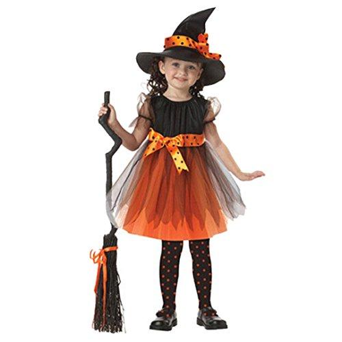 HLHN Halloween Kleid Baby Mädchen Kinder kleidet Kostüm Kleid Partei Kleider + Hut Outfit (152 / 9Jahren, Orange)