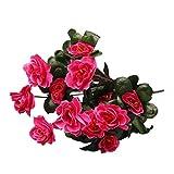 Leey Simulazione di bouquet artificiale di Azalea cartamo decorazione domestica di nozze fiori di seta peonia artificiale vintage per decorazione Ideale per matrimoni (Rosa caldo)