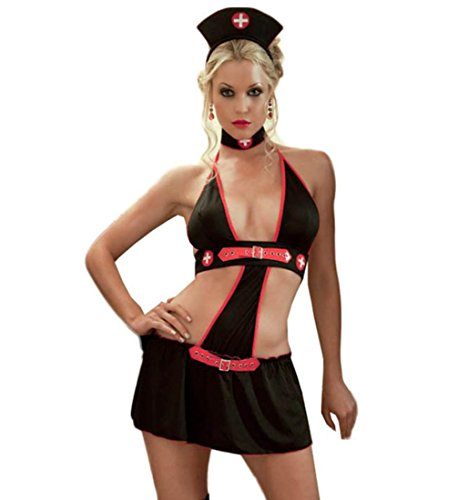 Flirty Krankenschwester Kostüme (DuuoZy Sexy Krankenschwester Kostüm Kleid Frauen Uniform Versuchung Babydoll Dessous Set , black , one)