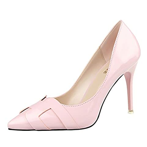 JNTworld Women High Heels Pointed Toe Mirrored Patent Leather Dress Pumps, 5 UK, Pink