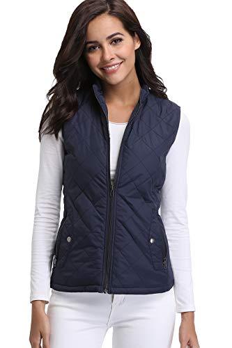 Miss Moly Damen Weste Outdoor Ärmellose Winter Jacke Gilet Warm Ultraleicht Elegant Blau - S