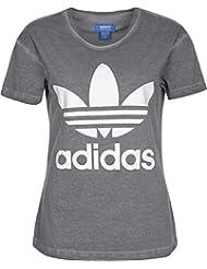 adidas PE Washed Tee - Camiseta para mujer, color gris, talla 32